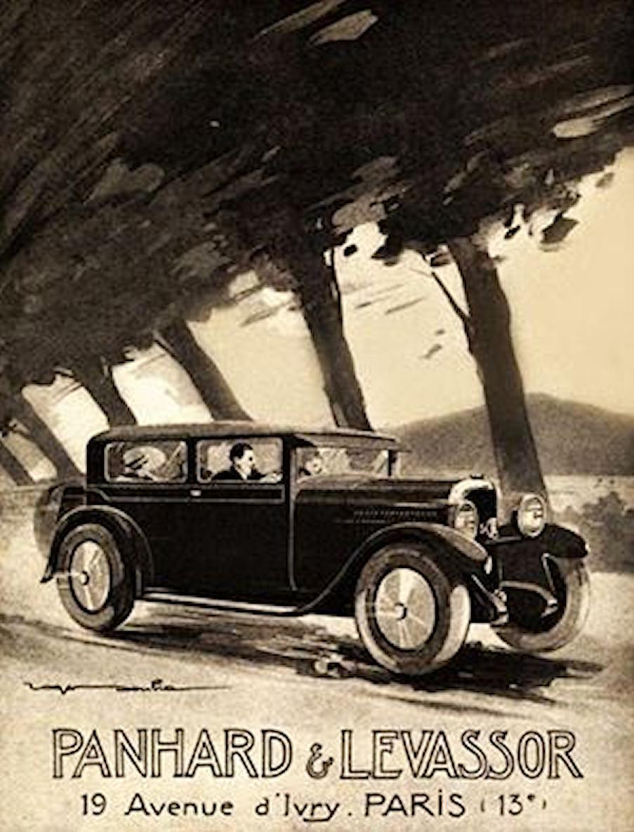 Panhard affiche met bomen